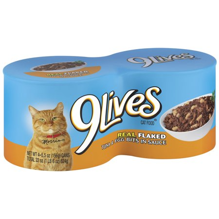 Image of 9 Lives Daily Essentials Canned Cat Food - Real Flaked Tuna & Egg Bits In Sauce, 5.5 Oz, 12 Ct