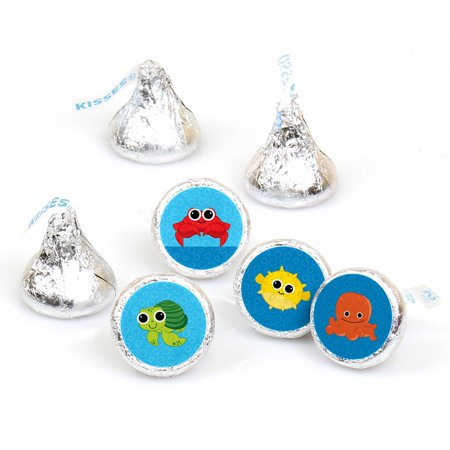 Under The Sea Critters - 108 Round Candy Labels Party Favors - Fits Hershey's Kisses - Under The Sea Party Favors