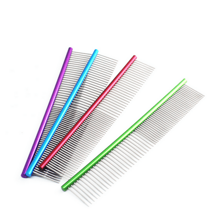 - 19cm High Quality Pet Comb Professional Steel Grooming Comb Cleaning Brush