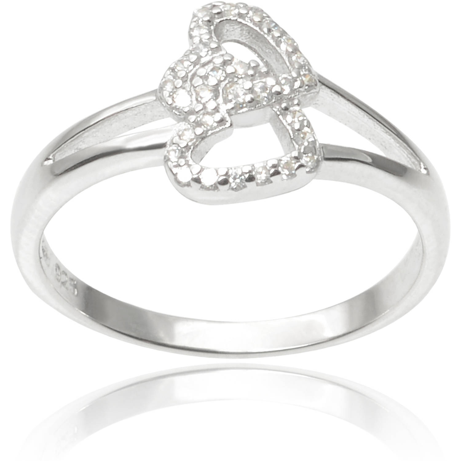 Alexandria Collection Sterling Silver 1/3 Carat T.G.W. Round Cubic Zirconia Double Heart Ring
