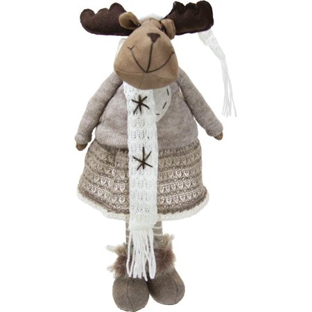 20 Gray and Brown Standing Girl Moose Decorative Christmas Tabletop Figure