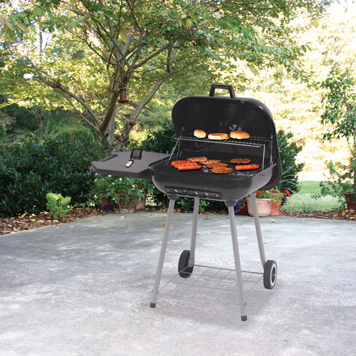 Uniflame Deluxe 399 sq. inch Square Charcoal Grill, Black