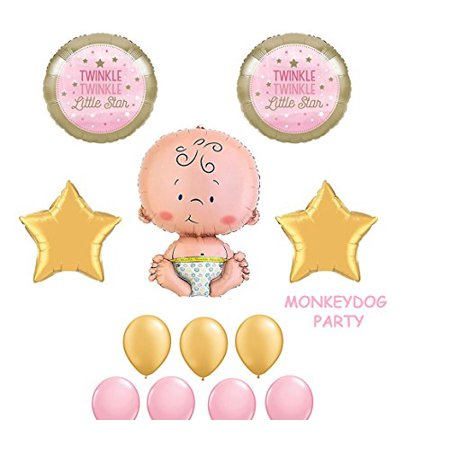 Twinkle Little Star Pink Gold Girl Baby Party Shower Birthday Balloons - Little Girls Birthday Party
