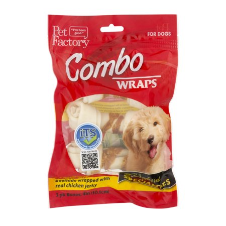 Beef Wrap - Pet Factory Combo Wraps Beef Hide Wrapped With Real Chicken Jerky - 3 PK, 3.0 PACK