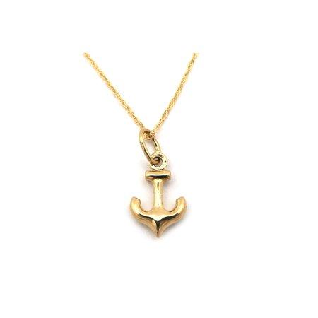 Beauniq 14k yellow gold tiny puffed anchor pendant necklace 13 15 beauniq 14k yellow gold tiny puffed anchor pendant necklace 13 15 16 18 20 22 walmart aloadofball Image collections