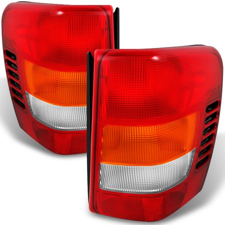 Fit 99-04 Jeep Grand Cherokee Red Amber Tail Lights L + R