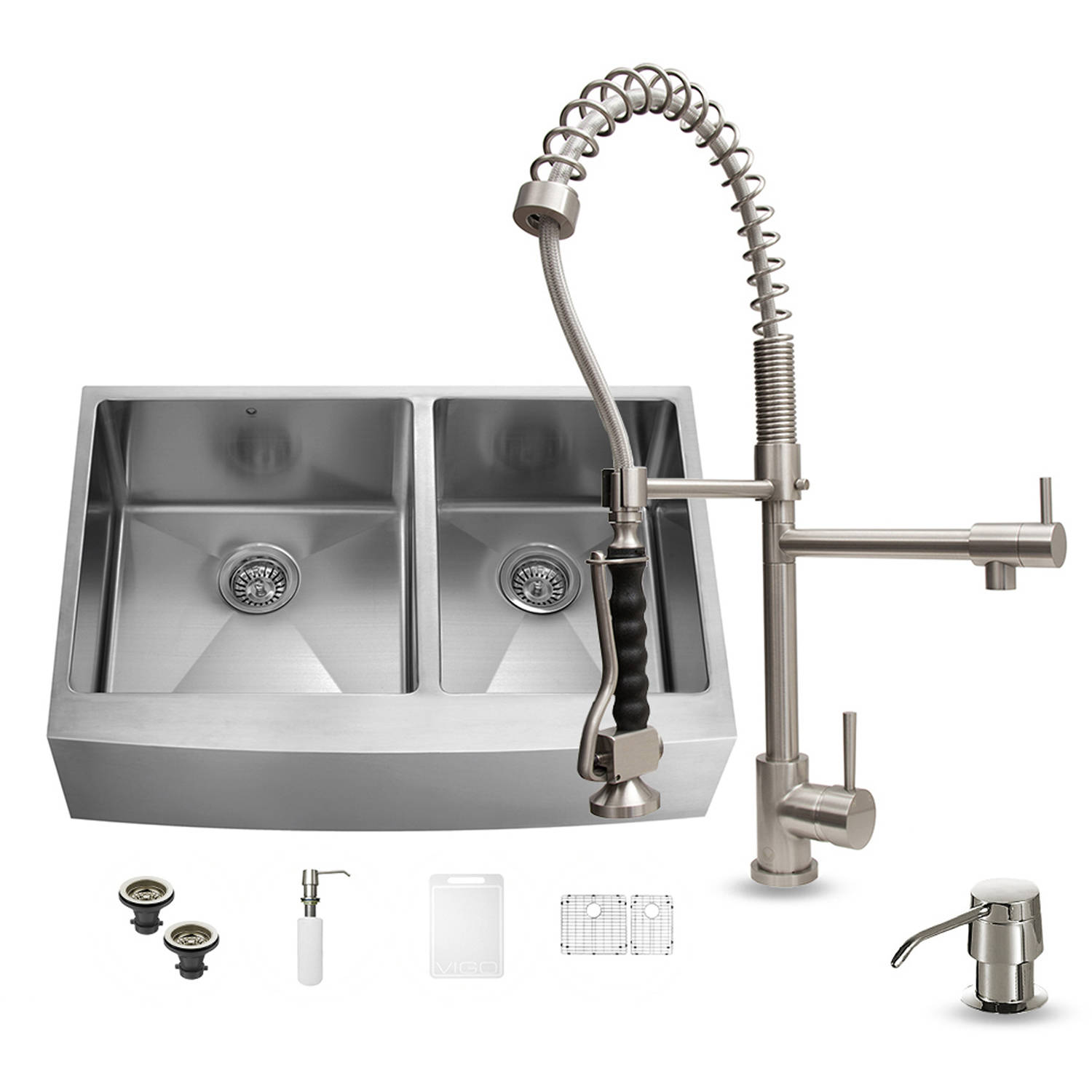 Vigo Farmhouse Stainless Steel Kitchen Sink, Faucet, 2 Grids, 2 Strainers and Dispenser