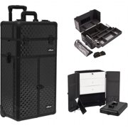 Sunrise I3766DMAB Black Diamond Professional Makeup French Door Opening Case with Large Drawers