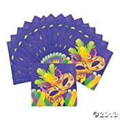 16 Pack - Mardi Gras Napkins ~ Mask and Feathers ~ Purple Green Yellow