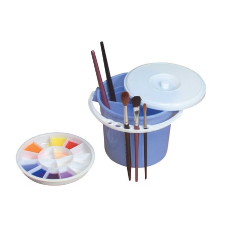 Richeson Heavy Duty Wood (Jack Richeson 5-Piece Heavy Duty Plastic Brush Basin and Palette with Lid, 6 X 6)