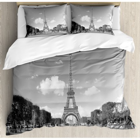 Eiffel Tower Duvet Cover Set, Famous Travel Destination Paris City Tourist Attraction European Landscape Photo, Decorative Bedding Set with Pillow Shams, Grey, by Ambesonne ()