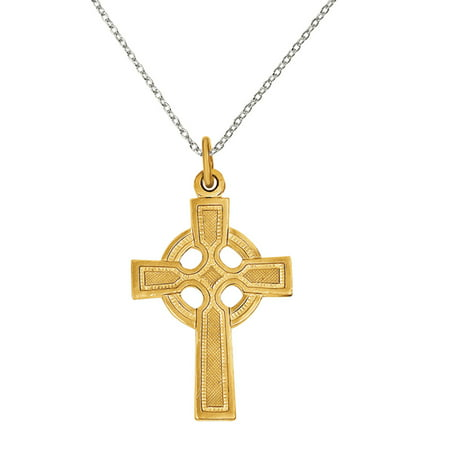 Primal Silver Sterling Silver and 24 Karat Gold-plated Celtic Cross Pendant with 18-inch Cable Chain (Celtic Cross Pendant Sterling)