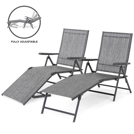Best Choice Products Set of 2 Outdoor Adjustable Folding Chaise Reclining Lounge Chairs for Patio, Poolside, Deck w/ Rust-Resistant Steel Frame, UV-Resistant Textilene, 4 Back & 2 Leg Positions Adjustable Chaise Lounge Set