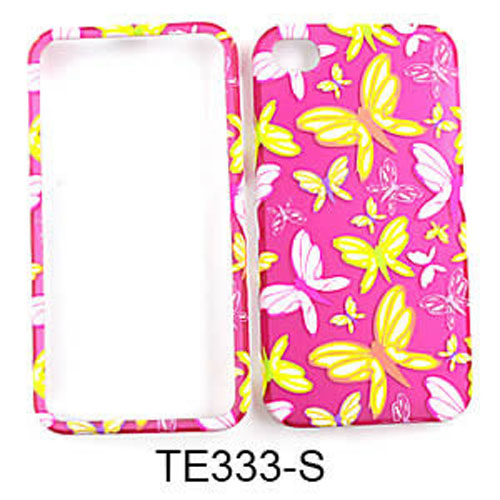 Snap-On Protector Case for Apple iPhone 4 / 4S (Trans. Design/Butterflies on Pink)