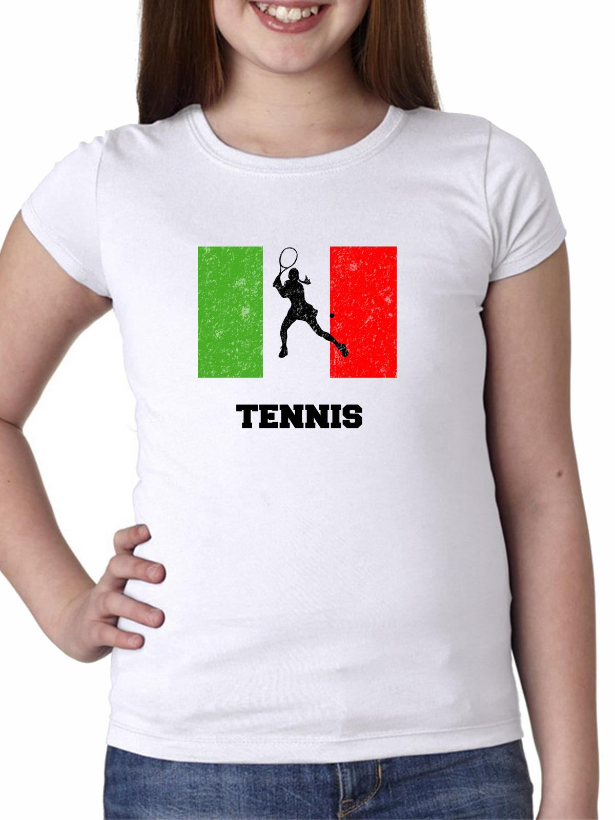 Italy Olympic - Tennis - Flag - Silhouette Girl's Cotton Youth T-Shirt