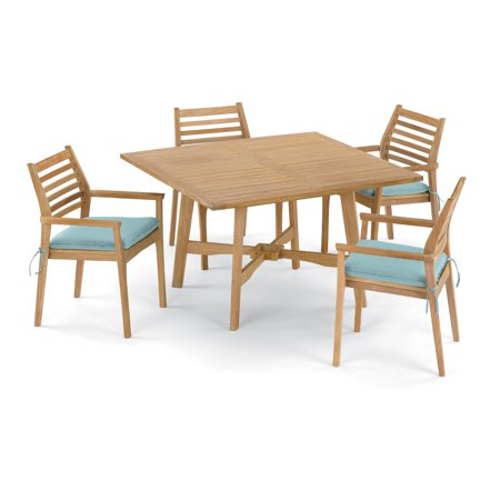 Wexford 5 Piece Natural Shorea Patio Dining Set W/ 48 Inch Square Table & Sunbrella Canvas Mineral Blue Cushions By Oxford Garden
