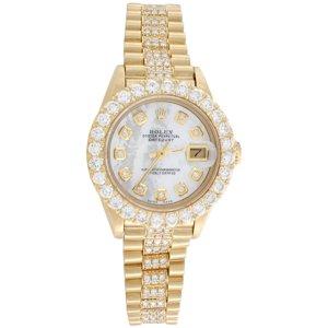 Rolex 18K Gold President 26mm DateJust 69178 VS Diamond White MOP Watch 4.46 CT.
