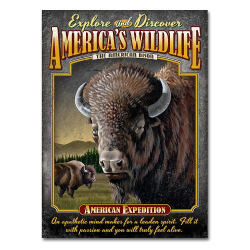American Expedition Bison Tin Sign Magnet Painting Print