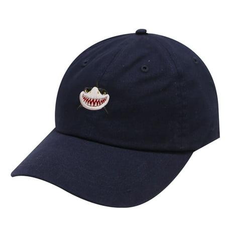 City Hunter C104 Shark Face Cotton Baseball Dad Caps 19 Colors (Navy)