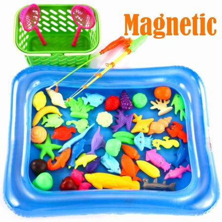 Magnetic Fishing Toys for Kids, Plastic Floating Game Set Toys for Bathtub and Pool 52Pcs