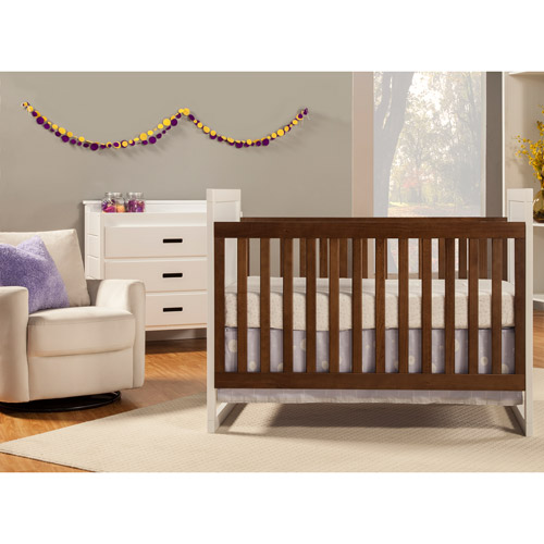 Lovely Baby Mod Modena Mod Two Tone 2 In 1 Convertible Crib Walnut And White    Walmart.com