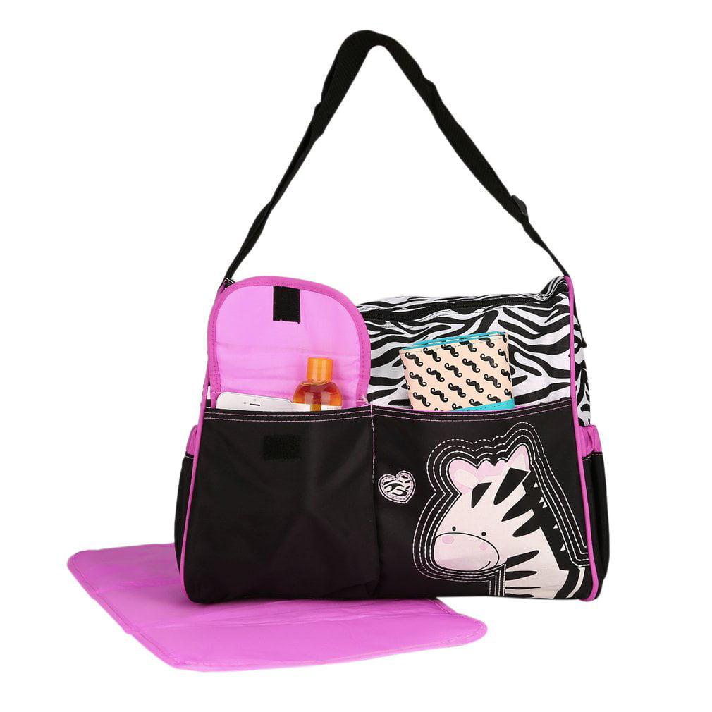 Large Capacity Baby Boom Duffle Diaper Bag Backpack for Girls Zebra Print Women Mummy Bag Shoulder Bag by