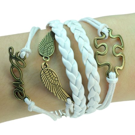 Fashion Jewelry vintage bronze angel wings puzzle love charms white braided leather rope bracelet -19