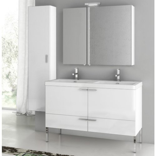 ACF by Nameeks ACF ANS29-GW New Space 47-in. Double Bathroom Vanity Set - Glossy White