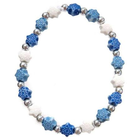 Frozen Snowflakes Bracelet [White, Blue & Dark Blue] ()