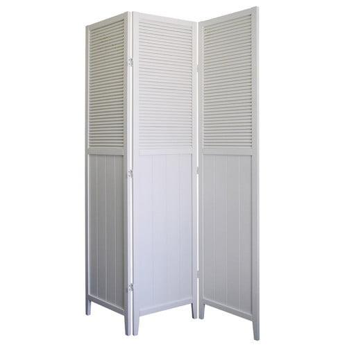 ORE International Shutter Door 3-Panel Room Divider, White