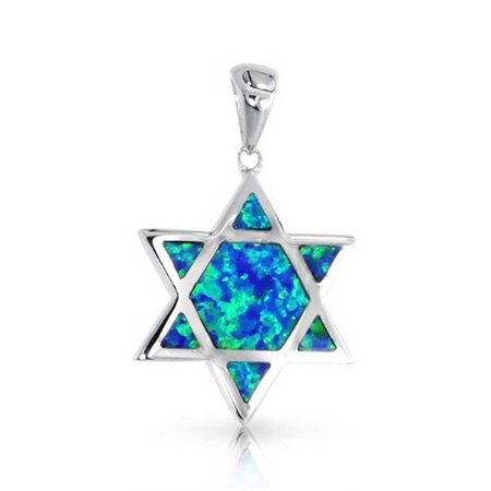 Hanukkah Blue Created Opal Inlay Magen Jewish Star Of David Pendant Necklace For Women For Teen 925 Sterling Silver