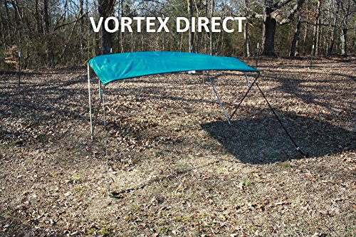 "New TEAL STAINLESS STEEL FRAME VORTEX 3 BOW PONTOON DECK BOAT BIMINI TOP 6' LONG, 67-72"" WIDE (FAST SHIPPING 1 TO 4... by VORTEX DIRECT"