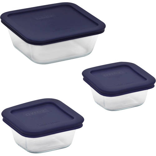 Pyrex 6-Piece Storage Plus Square Value Pack with Plastic Covers, Glass