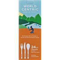 World Centric Compostable and TPLA Assorted Cutlery, 24 Count
