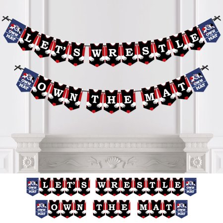 Own The Mat - Wrestling - Party Bunting Banner - Wrestler Party Decorations - Let's Wrestle Own The (Bunting Mat)
