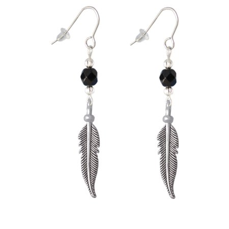 Large 3-D Feather Black Bead French Earrings](Black Beaded Earrings)