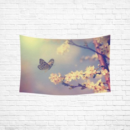 YKCG Home Decoration Vintage Butterfly and Cherry Flower in Spring Wall Hanging Tapestry 60 x 51 Inches