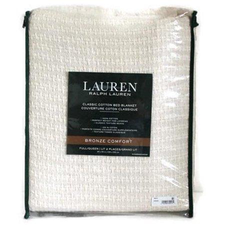 Ralph Lauren Classic 100% Cotton Bed Blanket Full/Queen Cream