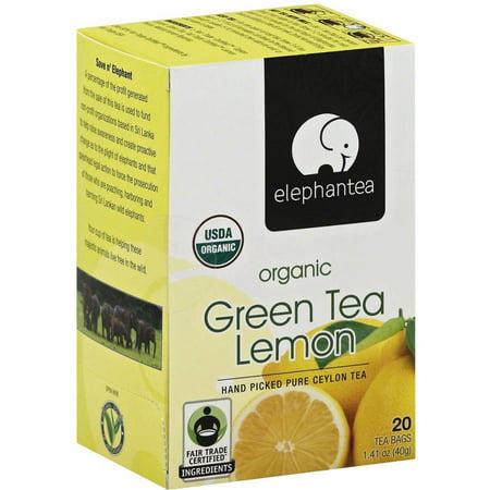 ELEPHANTEA Vert Citron Bio Thé, 1,41 oz, (pack de 6)