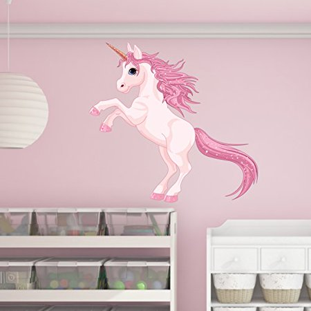 - Pretty Pink Unicorn Wall Decal - Wall Sticker, Vinyl Wall Art, Home Decor, Wall Mural - SD3055 - 16x15