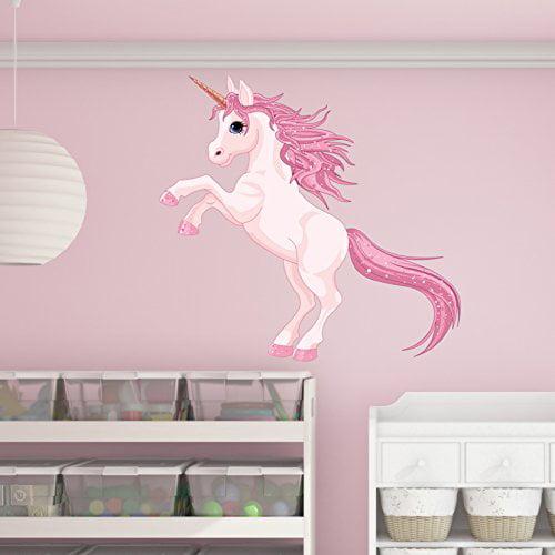 Pretty Pink Unicorn Wall Decal - Wall Sticker, Vinyl Wall Art, Home Decor, Wall Mural - SD3055 - 16x15