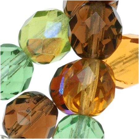 Earth Tones Green (Czech Fire Polished Glass Beads 8mm Round 'Earthtones Green Brown Amber Mix' (50) )