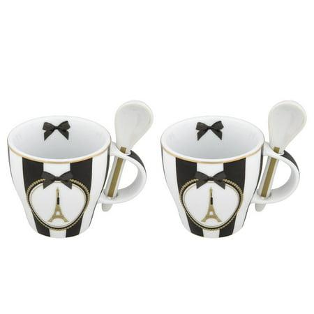 And Disney Parks Mug With Epcot Spoons Bow Mini New Paris Set Eiffel 0wP8kOn