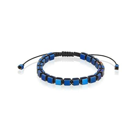 Blue Plated Hematite Cube Stone Adjustable Bracelet (6mm)