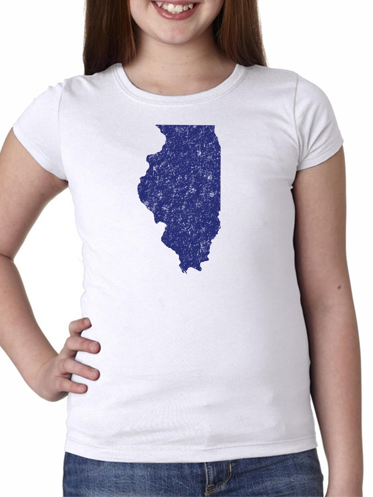 Illinois Blue Democratic - Election Silhouette Girl's Cotton Youth T-Shirt
