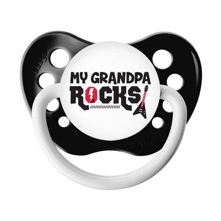 Ulubulu Classic Expression Pacifier - 6-18 Months - Black - My Grandpa Rocks ()