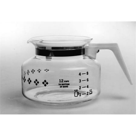 Medelco GL200 12 Cup Universal Replacement Coffee Carafe with White Handle & Lid
