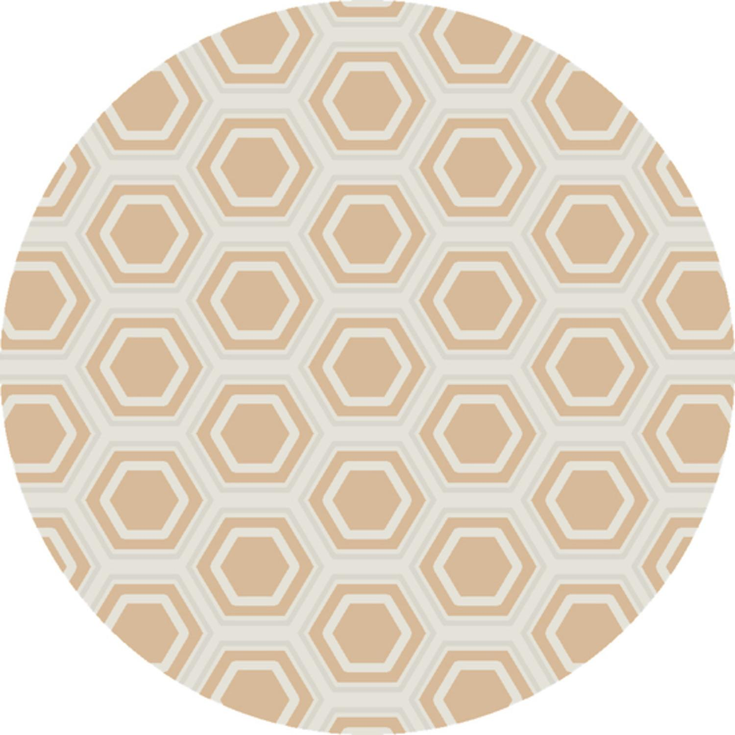 8' Retro Octagon Goldenrod and Silver Round Wool Area Throw Rug by Diva At Home