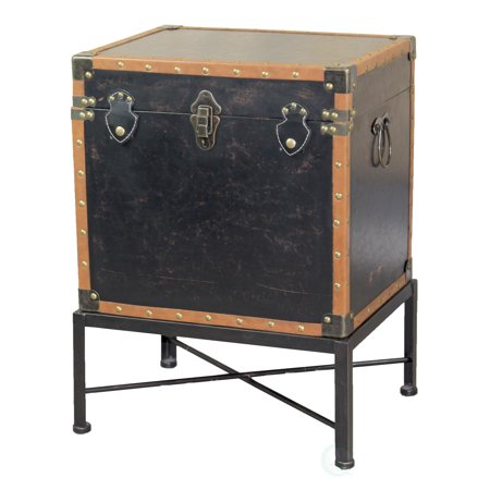 Faux Leather Trimmed Square Storage Trunk, End Table on Metal Stand Faux Leather Cube Table