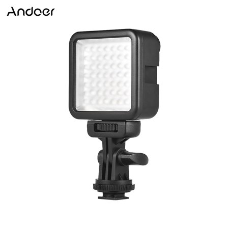 Andoer W49S Mini Dimmable Interlock LED Video Light Fill Light 6000K CRI90+ With Rotatable Shoe Mount Adapter for Canon Nikon Sony Pentax Panasonic DSLR Cameras